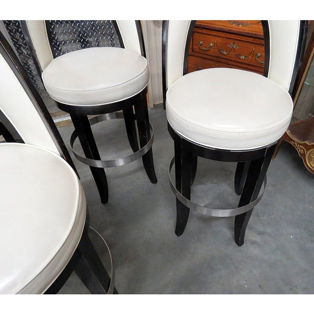 Mid-Century Modern Swiveling Bar Stools - Set of 4 For Sale - Image 4 of 8