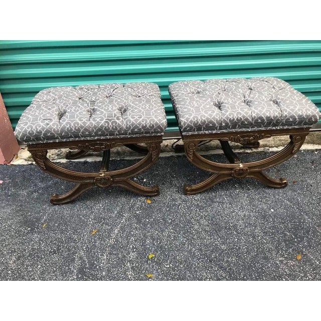 This is a pair of Regency Style X Benches. They feature curled legs and a central shell motif. The upholstery is grey and...