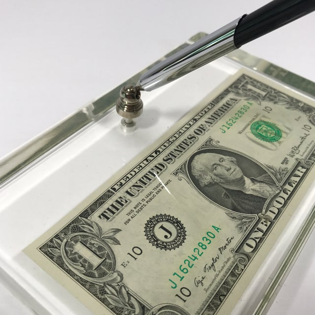 Vintage Dollar Bill Lucite Pen Holder - Image 3 of 11