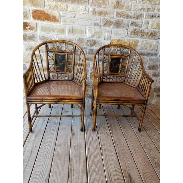Wood Pair of Bamboo Armchairs With Chinoiserie Panels For Sale - Image 7 of 8
