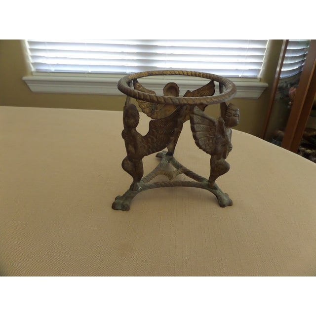 Vintage Solid Brass Display Stand With 3 Cherubs, Loin's Feet and Braided Round Top - Image 2 of 8
