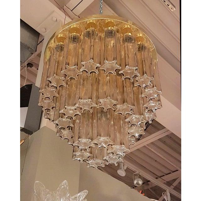 1960s Mid Century Modern Limburg Murano Clear Glass & Brass Flush Mount Light For Sale - Image 5 of 7