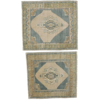 Vintage Square Oushak Rugs - A Pair
