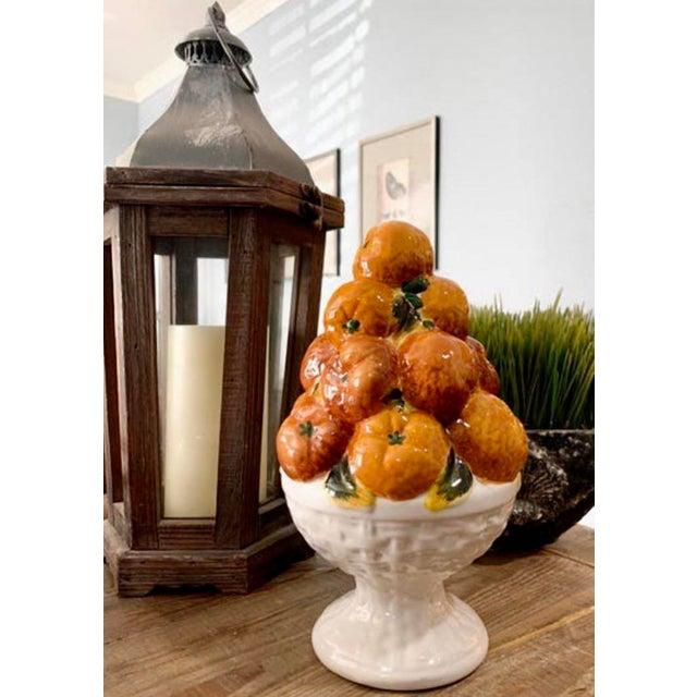 Tangerine Italian Ceramic Fruit Topiary Basket of Oranges For Sale - Image 8 of 8