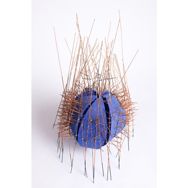 Abstract Expressionism 20th Century Irving Harper Kinetic Round Blue Geometric Sculpture For Sale - Image 3 of 7