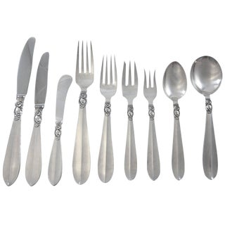 Princess Fuchsia by Frigast Sterling Silver Flatware Dinner Set Service 109 Pcs For Sale