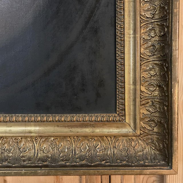 18th Century Framed Oil Portrait on Canvas For Sale - Image 11 of 12
