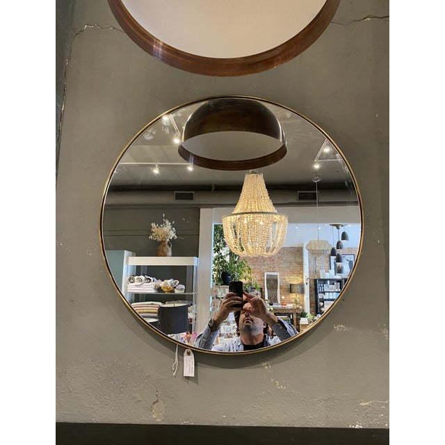 """Contemporary Round 30"""" Brass Mirror For Sale In Los Angeles - Image 6 of 6"""