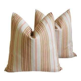 "French Striped Ticking Feather/Down Pillows 23"" Square - Pair For Sale"