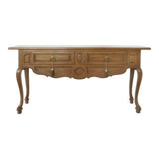 Don Rousseau French Provincial Console in Ash with Brass Pulls For Sale