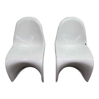 "1960s Verner Panton Mid-Century Modern White ""S"" Chairs - a Pair For Sale"