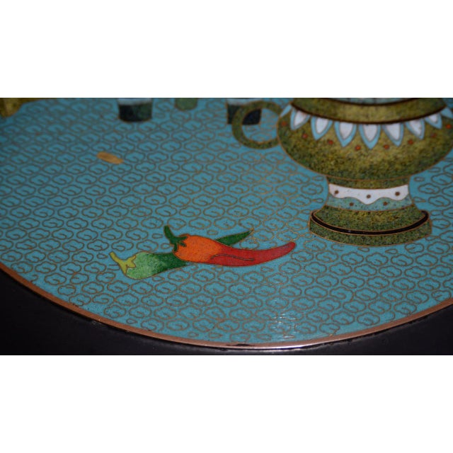 1940s Vintage Black Lacquer & Turquoise Blue Cloisonne Chinese Coffee Table For Sale In San Francisco - Image 6 of 8