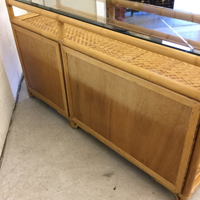 Yellow Vintage Bamboo & Wicker Floating Glass Top Credenza Buffet For Sale - Image 8 of 12