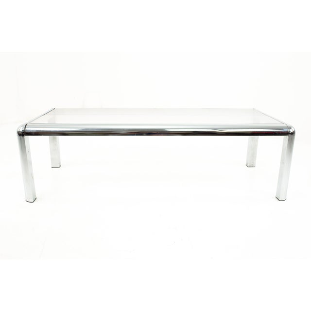 1960s Mid Century Chrome and Glass Coffee Table For Sale - Image 5 of 9