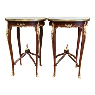 Early 20th Century French Louis XV Rosewood Veneer Tables-a Pair For Sale