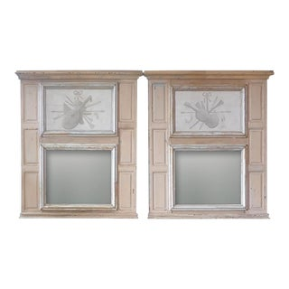 19th Century French XIX Painted Pine Trumeau Mirrors - a Pair For Sale