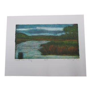 Vintage Color Lithograph Titled: Creek Views Signed by the Artist For Sale