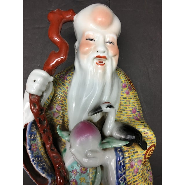 1900s Chinese Porcelain Deities, Fu, Lu, Shou Wall Hanging Figures - Set of 3 For Sale - Image 5 of 10
