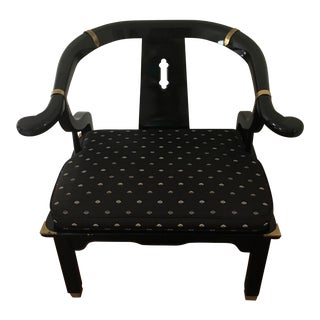 James Mont for Century Asian Black Lacquer Horseshoe Armchair