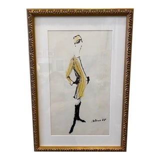 Vintage Fashion Illustration in Gold Frame For Sale