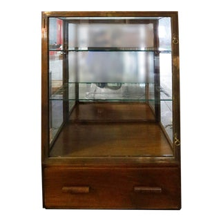 Mid Century Modern Wood and Glass With Brass Trim Showcase For Sale