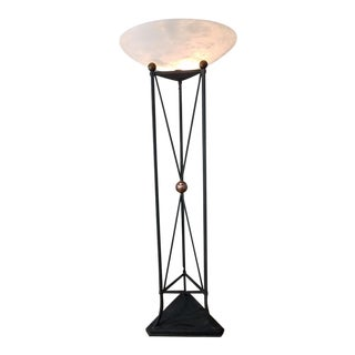 Wrought Iron Custom Torchiere Floor Lamp For Sale