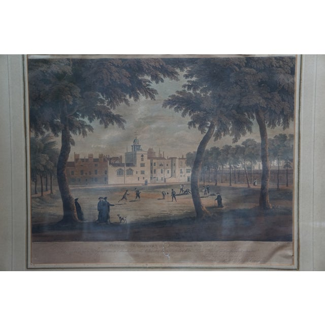 Offered here is a Vintage Colored Engraving of An English Vauxhall (commercial/Residential complex) in amazing details....