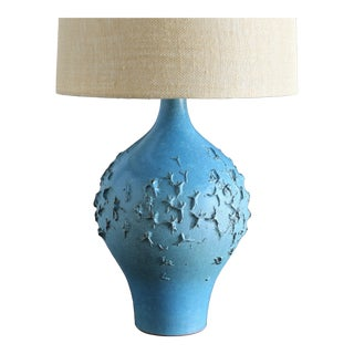 Lee Rosen for Design Technics Blue Ceramic Lamp Circa 1960 For Sale