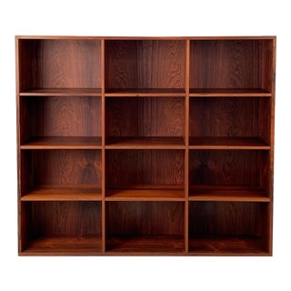 Vintage Danish Rosewood Wallmounted Bookcase For Sale
