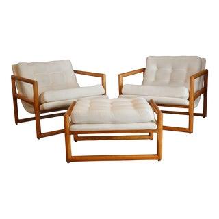 1970s Vintage Milo Baughman for Thayer Coggin Scoop Chairs & Ottoman- Set of 3