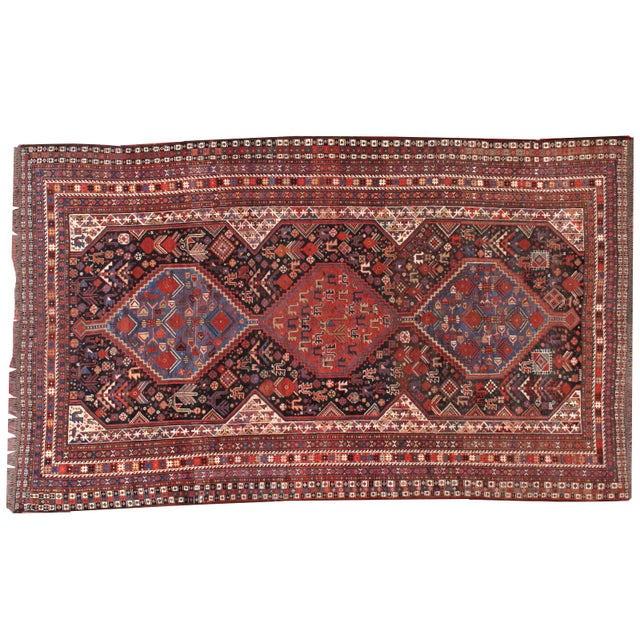 1880s Hand Made Antique Persian Khamseh Rug - 6' X 9' For Sale - Image 9 of 10
