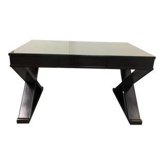 Custom X-Shaped Base Espresso Writing Desk For Sale
