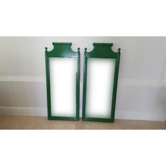 Late 20th Century Henry Link Bali Hai Faux Bamboo High Gloss Green Dresser Mirrors - a Pair For Sale - Image 5 of 6