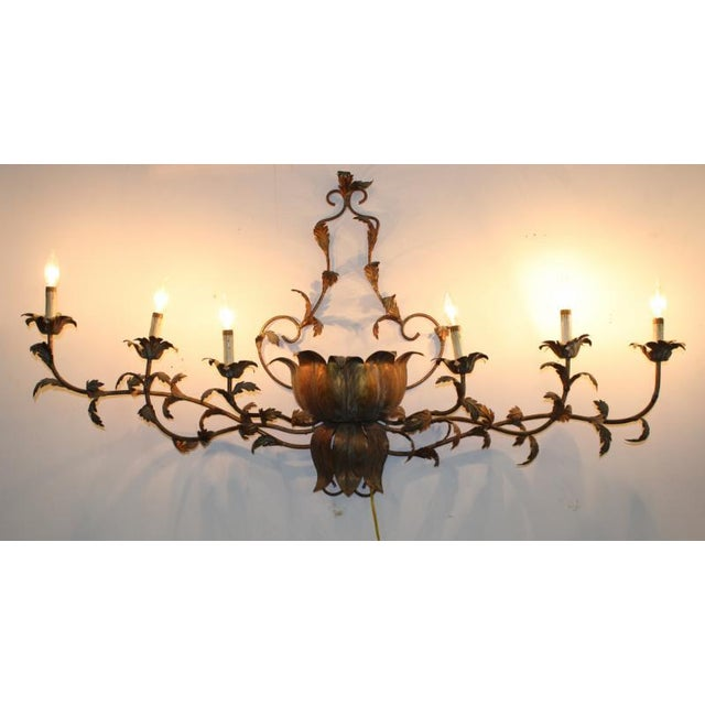 Large Brass Italian Gilded Lotus Wall Sconce - Image 2 of 6