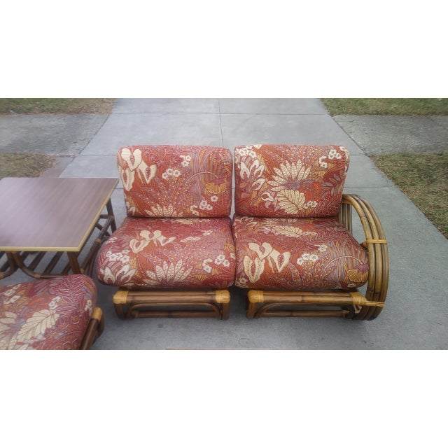 Red Vintage Mid Century Paul Frankl Style Pretzel Arm Rattan Bamboo Sofa - Set of 5 For Sale - Image 8 of 13