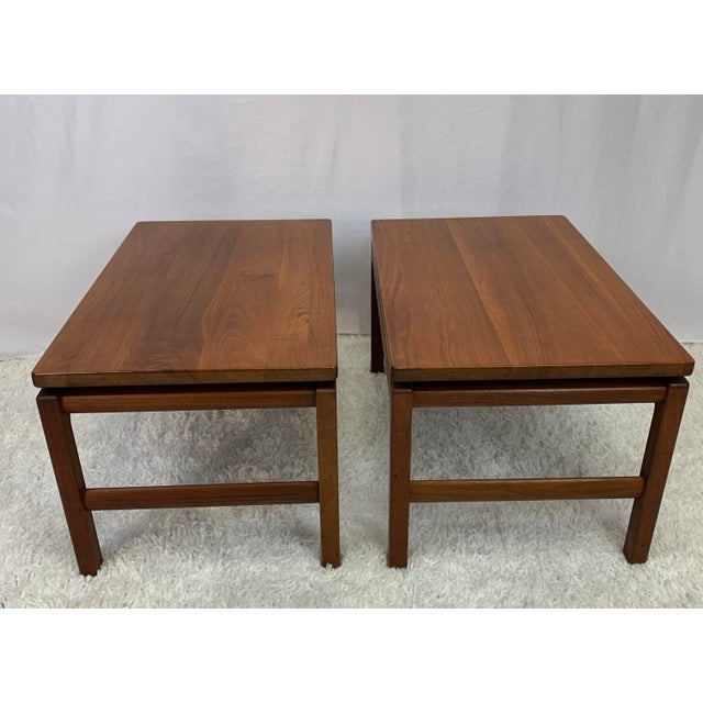 A rare and gorgeous pair of matching midcentury Danish modern style coffee tables by Gunlocke Chair Company, Wayland, New...