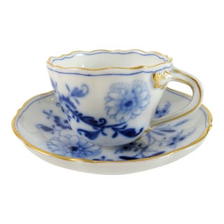 Antique Meissen Blue & White Demitasse Cup & Saucer For Sale