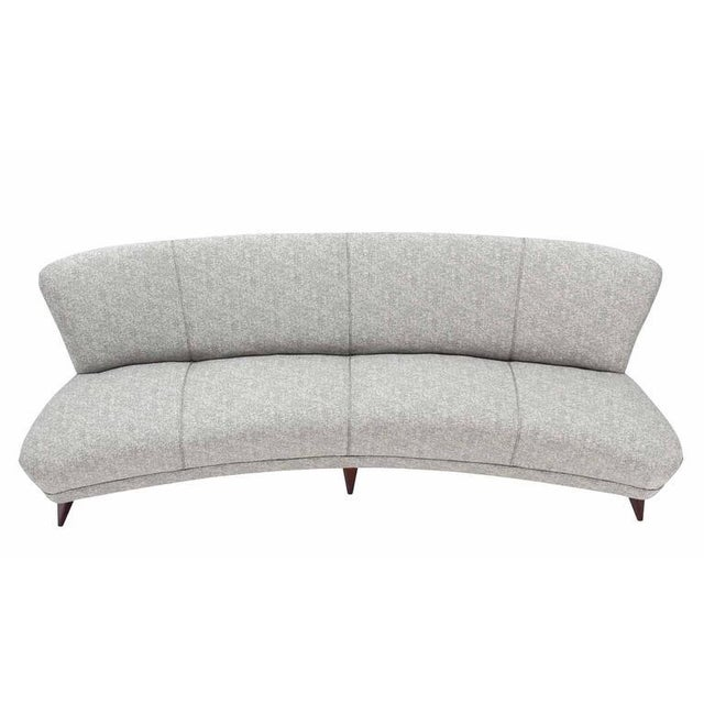 Mid century modern art deco new upholstery cloud sofa. Comfortable real springs seats. Hard to find curved shape.