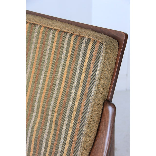 Vintage Mid Century Striped High Back Lounge Chair - Image 6 of 6