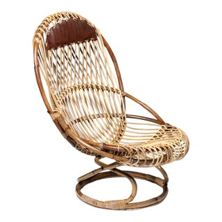 """Tre Cerchi"" Wicker Lounge Chair by Tito Agnoli for Bonacina For Sale"