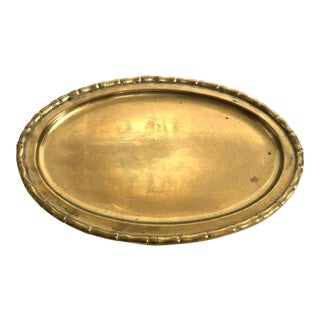 Vintage Brass Faux Bamboo Lined Serving Tray