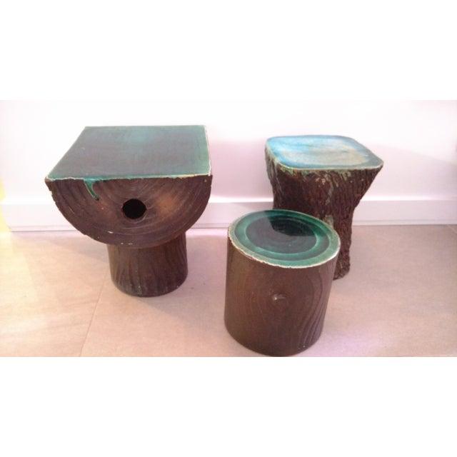 1960s 1960s Vintage Art Nouveau Ceramic Tree Trunk End Tables- Set of 3 For Sale - Image 5 of 12