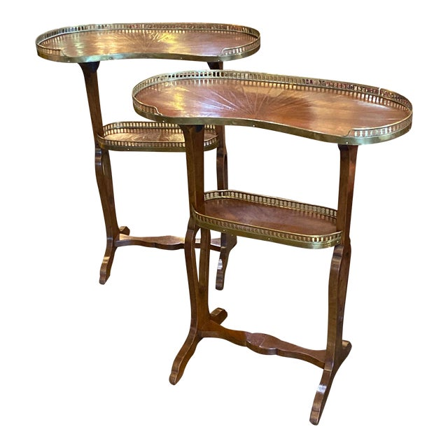 Mahogany Kidney Shaped Tables With Reticulated Brass Edge - a Pair For Sale