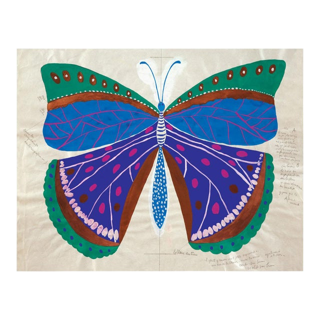 Paule Marrot, Butterfly Blue, Unframed Artwork For Sale