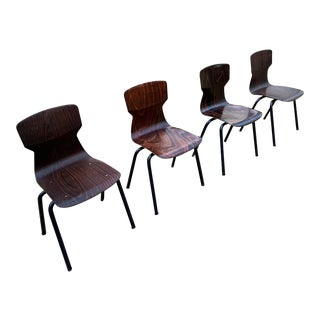 1960s Vintage Industrial Modern Dining Chairs by Eromes - Set of 4 For Sale