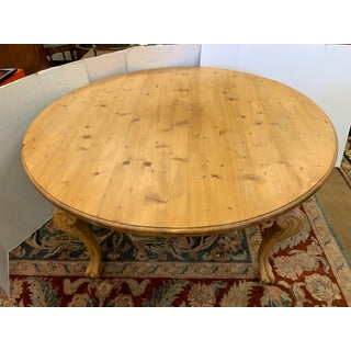 French Round Carved Pine Wood Dining Table Preview