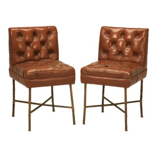 French Leather Chairs in style of Jacques Adnet circa 1940s - a pair For Sale