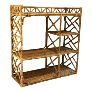 Vintage Bamboo Rattan Chinoiserie Etagere For Sale