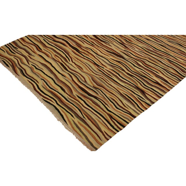 Boho Chic Cinderel Beige/Red Hand-Woven Kilim Wool Rug -5'10 X 8'3 For Sale - Image 4 of 8