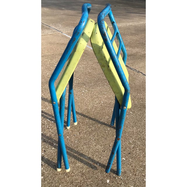 1950s Vintage Children's Metal Folding Chairs - a Pair For Sale - Image 5 of 11
